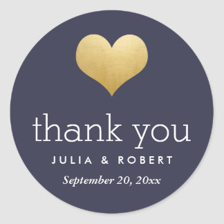 Modern Faux Gold Foil Heart Navy Blue Thank You Classic Round Sticker