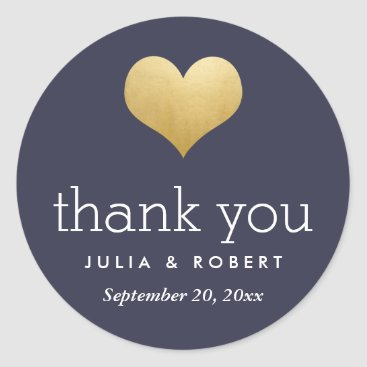 Valentines Themed Modern Faux Gold Foil Heart Navy Blue Thank You Classic Round Sticker