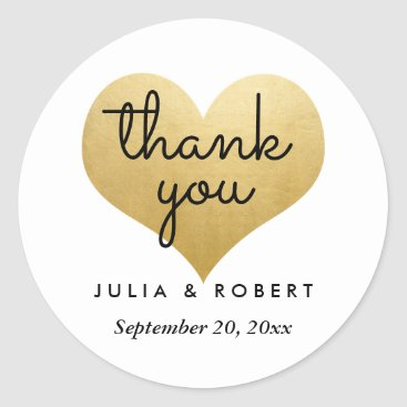Wedding_Trends_Now Modern Faux Gold Foil Heart Thank You Typography Classic Round Sticker