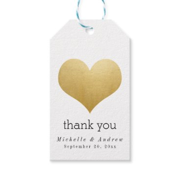 wedding_trends_now Modern Faux Gold Foil Heart Thank You Wedding Gift Tags
