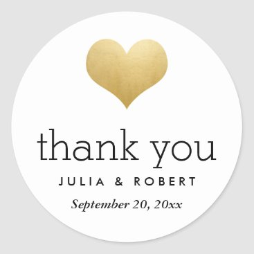 Valentines Themed Modern Faux Gold Foil Heart Wedding Thank You Classic Round Sticker