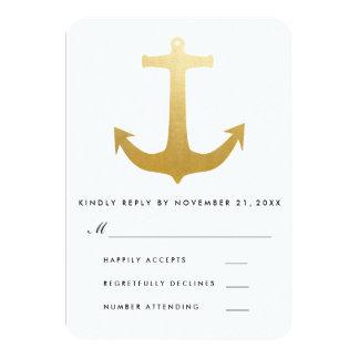 Modern Faux Gold Foil Nautical Anchor Wedding RSVP Card