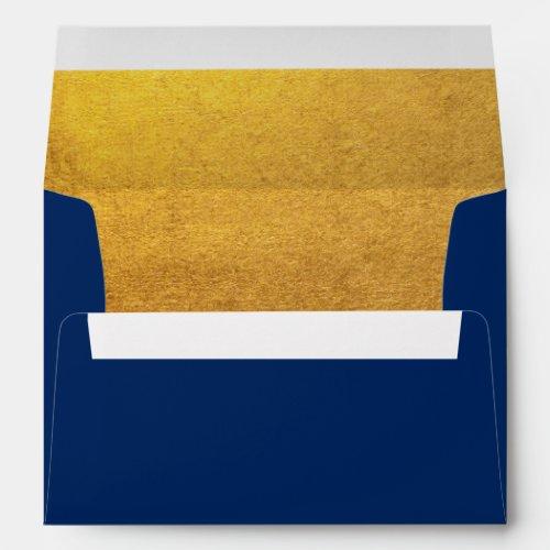 Modern Faux Gold Foil Navy Envelope