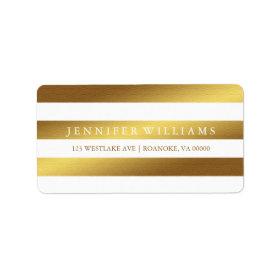 Modern Faux Gold Foil Stripes Labels