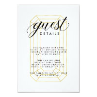 Modern Faux Gold Geometric Diamond Guest Details Card