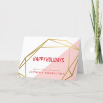 Modern Faux Gold Geometric | Holiday Greetings