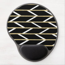 Modern faux gold glitter black chevron pattern gel mouse pad
