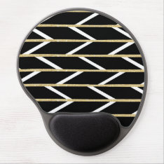 Modern Faux Gold Glitter Black Chevron Pattern Gel Mouse Pad at Zazzle