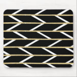 "Modern faux gold glitter black chevron pattern mouse pad<br><div class=""desc"">A modern,  geometric and abstract handdrawn chevron pattern mixed with herringbone pattern with luxurious faux gold glitter and white strokes on a modern black background. A pretty,  cool pattern for anyone.</div>"