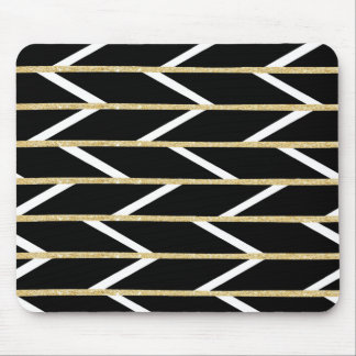 Modern faux gold glitter black chevron pattern mouse pad