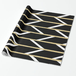 Modern faux gold glitter black chevron pattern wrapping paper