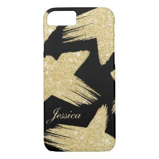 Modern faux gold glitter brushstrokes monogram iPhone 7 case