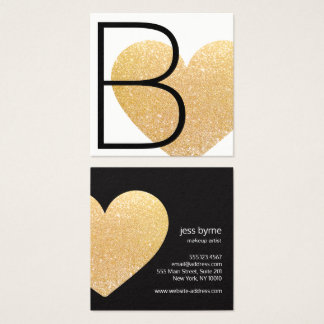 Modern Faux Gold Glitter Heart Black White Square Square Business Card