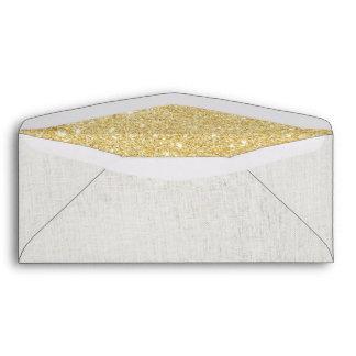 Modern Faux Gold Glitter Inside Elegant Linen Envelope