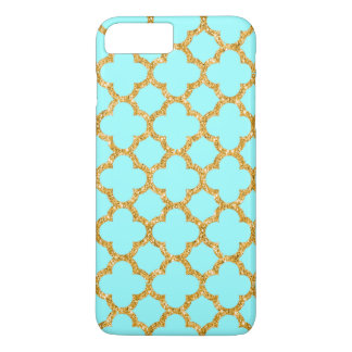 Modern Faux Gold Glitter Mosaic Quatrefoil Pattern iPhone 8 Plus/7 Plus Case