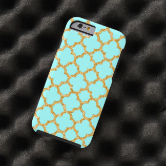 Modern Faux Gold Glitter Mosaic Quatrefoil Pattern Tough iPhone 6 Case