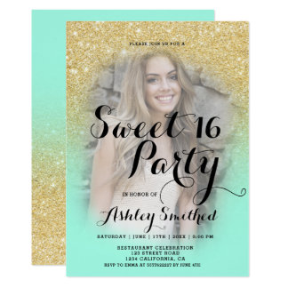 Modern faux gold glitter ombre mint photo Sweet 16 Card
