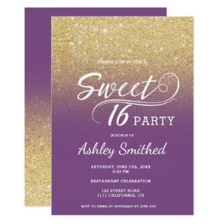 Modern faux gold glitter ombre purple Sweet 16 Card