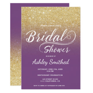 Modern faux gold glitter purple bridal shower card