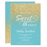 Modern faux gold glitter robin egg blue Sweet 16 Card