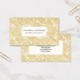 Modern faux gold glitter stylish marble effect business card