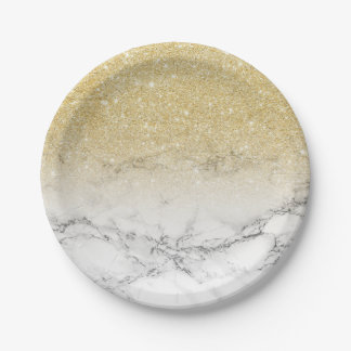 Modern faux gold glitter white marble color block paper plate