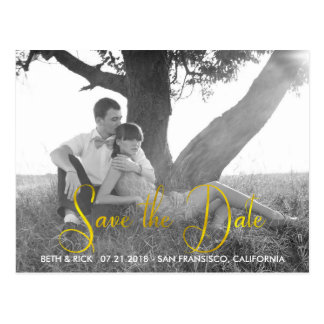 Modern Faux Gold leaf Save the Date Postcard