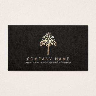 Modern Faux Gold Leaf Tree Nature Business Card