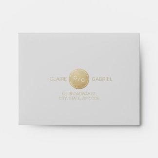 Modern faux gold monogram wedding RSVP Envelope