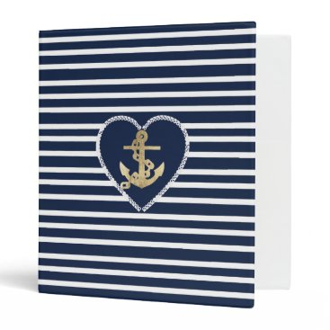 Valentines Themed Modern faux gold navy blue anchor nautical stripes binder