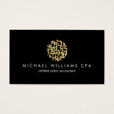 Modern Faux Gold Numbers Logo Accountant Black Business Card at Zazzle