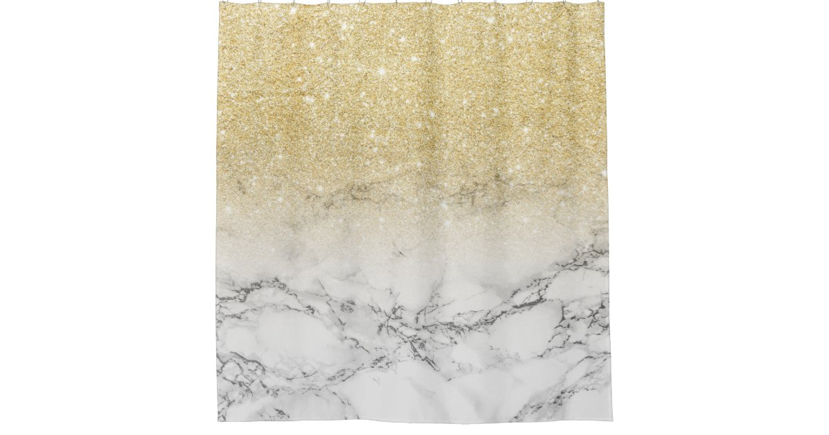 Modern Faux Gold Ombre White Marble Color Block Shower
