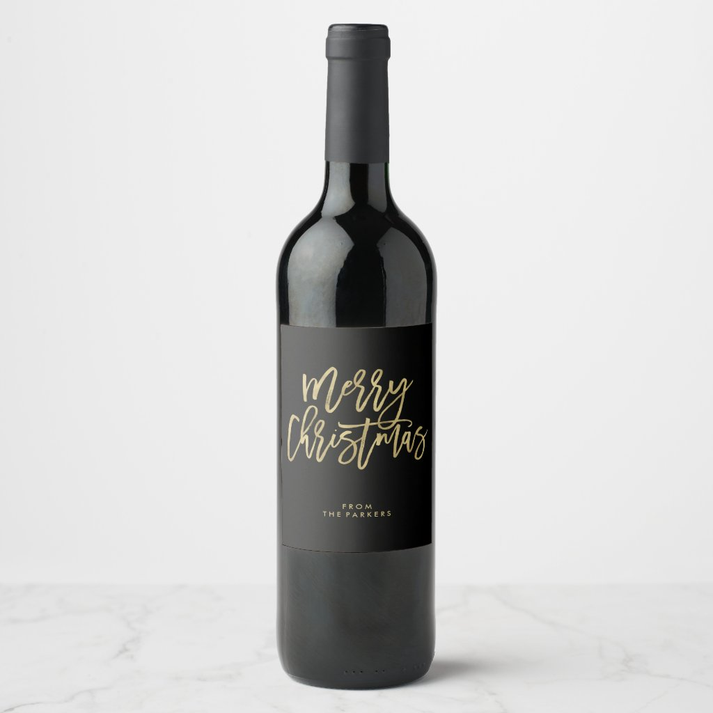 Modern Faux Gold on Black | Merry Christmas Wine Label
