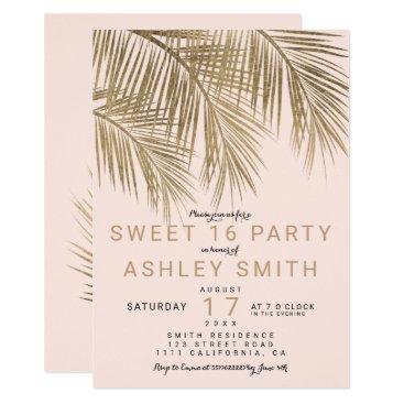 Beach Themed Modern faux gold palm tree elegant pink Sweet 16 Card