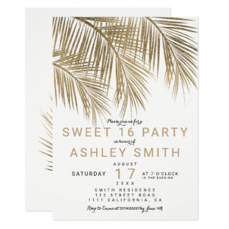 Modern faux gold palm tree elegant Sweet 16 Card