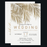 """Modern faux gold palm tree elegant wedding card<br><div class=""""desc"""">Modern simple faux gold palm tree watercolor with simple typography,  a trendy and tropical wedding theme on palm tree leaf.</div>"""
