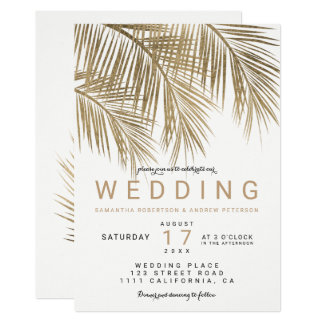 Modern faux gold palm tree elegant wedding card