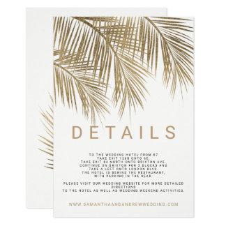 Modern faux gold palm tree elegant wedding details card