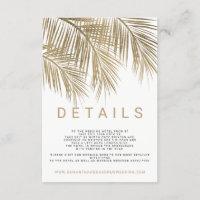 Modern faux gold palm tree elegant wedding details enclosure card