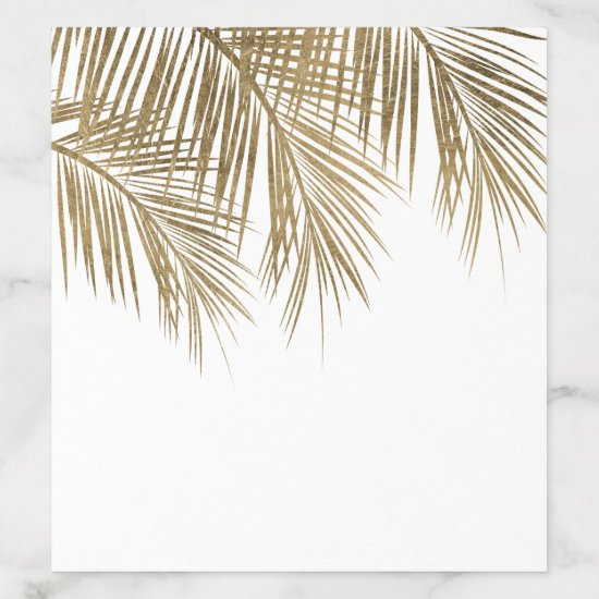 Modern faux gold palm tree elegant  wedding envelope liner