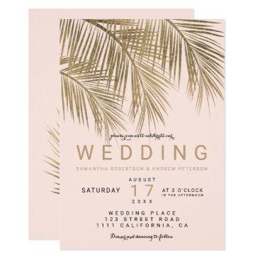 Beach Themed Modern faux gold palm tree elegant wedding pink card
