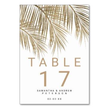 Wedding Themed Modern faux gold palm tree elegant wedding table card