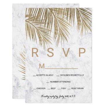 Beach Themed Modern faux gold palm tree marble RSVP wedding Card