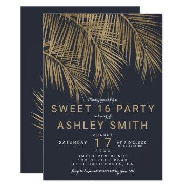 Beach Themed Modern faux gold palm tree navy blue Sweet 16 Card