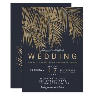 Beach Themed Modern faux gold palm tree navy blue wedding card