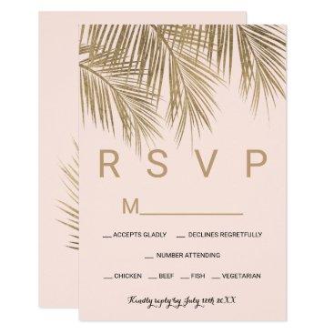 Beach Themed Modern faux gold palm tree pink RSVP wedding Card