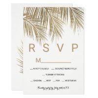 Modern faux gold palm tree RSVP wedding Card
