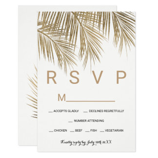 Modern faux gold palm tree RSVP wedding Card
