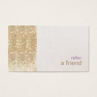 Modern FAUX Gold Sequins Refer A Friend Card Salon