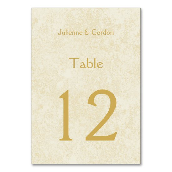 Modern Faux Gold Sparkles on Ivory Table Cards
